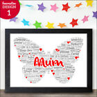 Personalised Mothers Day Gift for Mum Mummy Butterfly Word Art Present for Her