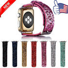 Noble Flash Glitter PU Leather Wrist Strap Watch Band for Apple Watch 38/42mm US
