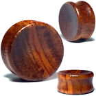 Pair Concave Tiger Wood Ear Plugs - Organic Saddle Gauges Flesh Tunnels Earrings