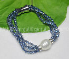 Blue AB 4mm Crystal BEADS NECKLACE BRECELET SET SHELL PEARL PENDANT JN1928