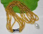 Champagne AB 4mm Crystal BEADS NECKLACE BRECELET SET SHELL PEARL PENDANT JN1927