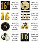40x gold personalised 16th/16 year old labels/stickers/birthday/party/sweets/bag