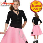 CK1102 Girls Poodle Sequins Pink Skirt 1950s 50s Hop Grease Retro Decade Costume