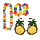 Pineapple Sunglasses & 4pc Multi-Colour Lei Flower Garland Hawaiian Party Set