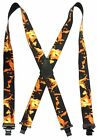 """HOT FIRE FLAMES American Made Custom Suspenders 2"""" Wide with Metal Clips"""