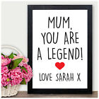 MUM You are a Legend PERSONALISED Mothers Day Gifts Keepsakes Mummy Nanny Nan