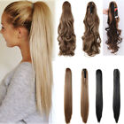 Long Jaw Claw Clip In Ponytail Hair Extensions Curly Wavy Pony Tail As Human UK