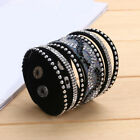 Multilayer Women Crystal Leather Bracelet Cuff Bangle Jrewelry Multi Colors GT