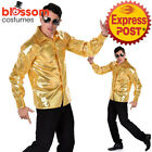 CA560 Gold Sequined Shirt 70s 60s Night Fever Groovy Disco Mens Costume Travolta