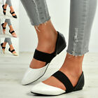 New Womens Ladies Elasticated Strap Pointy Ballerina Pumps Flats Shoes Sizes Uk