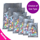Many Sizes for Heat-Sealable Clear Silver Shiny Foil Open Top Pouch Bag S2