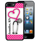 PERSONALIZED RUBBER CASE FOR iPHONE X 8 7 6S SE 5C 5S PLUS STETHOSCOPE NURSE RN