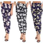 New Womens Floral Print Two Pocket Elasticated Waist Summer Pants Trousers 8-26