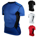 Men's Crew Neck Gym Sport Slim Sweat Undershirt Elastic Quick-dry T-shirt Tops