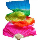 US 4 Colors Colorful Hand Made Dance Belly Dancing Silk Bamboo Long Fans Veils