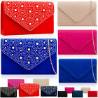 Gems Faux Suede Leather Envelope Women Clutch Wedding Evening Party Bridal Bags