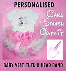 Baby Girls 1st First Birthday Pink Outfit luxury Tutu Skirt Vest headband 9-24m