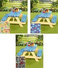 3 Pc Fitted Picnic Table & Bench Seat Cover Elastic Tablecloth Set Choose Design