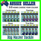 Hairy Backs Premium Snapper Flasher Pre-made 5/0 Rigs 5-Pack Choose Your Colour