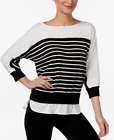 Calvin Klein Striped Layered-Look Sweater Black White