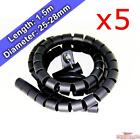 7.5m 5x 1.5m 28mm Cable Tidy Spiral Cord Wire Organiser Office TV PC Phone iPad