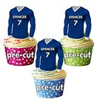 PRECUT Personalised Football Shirt Cake Toppers Decorations Cowdenbeath Colours image