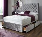 4FT6 DOUBLE SILVER CRUSHED VELVET DIVAN BED WITH OPTIONAL DRAWERS + HEADBOARD