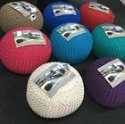 NEW ROUND FOOT STOOL MOROCCAN CUSHION HANDMADE CHUNKY COTTON KNITTED POUFFE