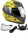 Youth Kids Snowmobile Helmet Matte Yellow Child DOT Full Face