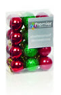 Shatterproof Baubles Christmas Tree Decoration in Mixed Red/Green Designs 9 Pack