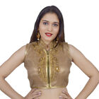 Areum Gold Embroidered Sleeveless Padded Zipper Readymade Saree Blouse PS046-GOL