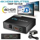 Ultra HD 4K 2Port HDMI Splitter,1×2 Repeater Amplifier,3D 1080P Hub 1 In 2 Out B