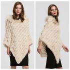 Real Rabbit Fur Knitted Poncho Raccoon Fur Collar Shawl Women Cape Pullover67110