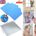 9/16/32pcs Mirror Tile Wall Sticker Square Self Adhesive Stick On 0.1mm Bathroom