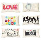 Rectangle Pillow Case Owl Bird Love Letter Pillowcase Cushion Cover Decoration A
