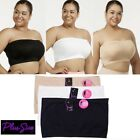 LOT OF 3 PLUS SIZE TUBE TOP STRAPLESS BRA SEAMLESS BANDEAU TOP NO PAD  1X 2X