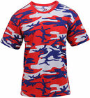 Mens Red White Blue Camo T-Shirt Camouflage Military Tee Patriotic USA American