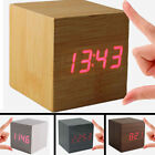 LED Modern Cube Wooden Wood Digital Desk Voice Control Alarm Clock Thermometer#