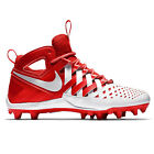 New Nike Huarache V LAX Mid Mens Lacrosse Cleats LX  -  White Red