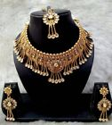 Indian Bollywood Bridal Wedding Gold Fashion Jewelry Necklace Earrings Set