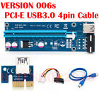 USB 3.0 Pcie Express 1x To 16x Extender Riser Card Adapter 4pin Cable Lot Hu2