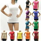New Womens Basic Slim Fit Cap Sleeve Crewneck T-Shirt Juniors Size S-XL RES1900
