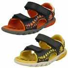 Boys Clarks Rocco Surf Navy Or Grey Leather Casual Sandals