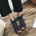 New Women Sexy Suede Leopard Hollow High Heel Open Toe Sandals Shoes Boots Pumps
