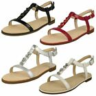 Ladies Clarks Bay Blossom Black Or White Patent Leather Flat Sandals D Fitting