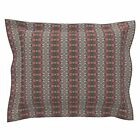 Gothic Abstract Stripe Victorian Hand Drawn Leaves House Pillow Sham by Roostery
