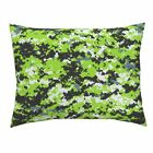 Zombie Camo Digital Neon Green Pillow Sham by Roostery