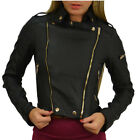 Studded Leather Fitted Biker Jacket  Womens Size