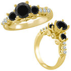1.25 Ct Black Diamond 3 Stone Eternity Engagement Wedding Ring 14K Yellow Gold