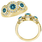1.75 Ct Blue Diamond Fancy Halo 3 Stone Engagement Bridal Ring 14K Yellow Gold